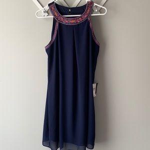 iZ Byer Blue dress with embroidered neckline